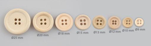 Guzik drewniany z obrzeżem 2 mm, 4 dziurki, DIY