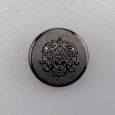 Guzik ozdobny retro ze stylizowanym herbem kolor czarny oksydowany śr. 20 mm