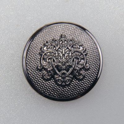 Guzik ozdobny retro ze stylizowanym herbem kolor czarny oksydowany śr. 25 mm