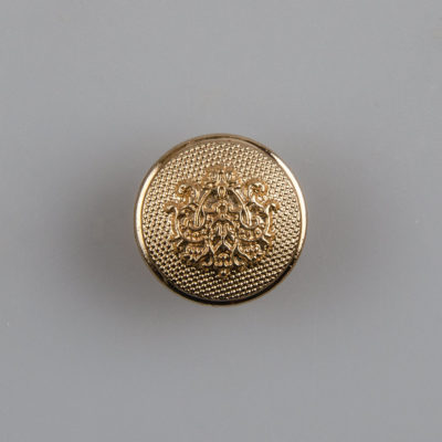 Guzik ozdobny retro ze stylizowanym herbem kolor złoty śr. 15 mm