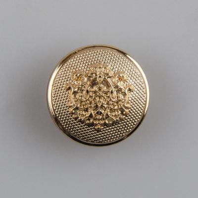 Guzik ozdobny retro ze stylizowanym herbem kolor złoty śr. 20 mm