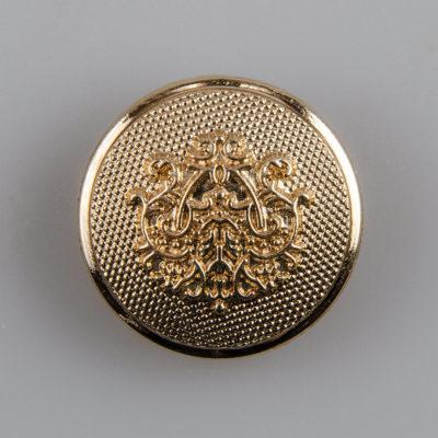 Guzik ozdobny retro ze stylizowanym herbem kolor złoty śr. 25 mm