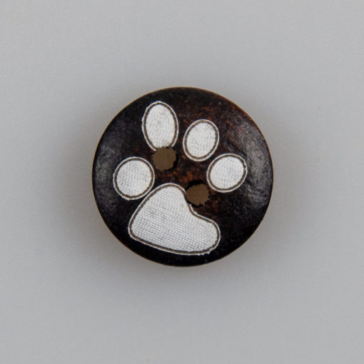 Guzik drewniany z kocimi łapkami, 2 dziurki, kolor ciemno brazowy, śr. 15 mm DIY