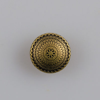 Guzik ozdobny antyczny ze wzorem koronkowym (mandala, fraktal), kolor stara miedź, śr. 15 mm