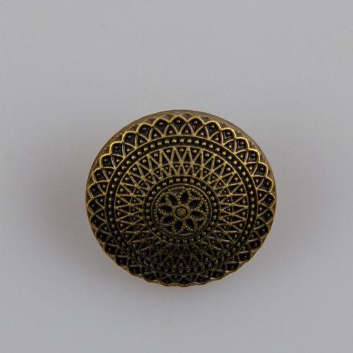 Guzik ozdobny antyczny ze wzorem koronkowym (mandala, fraktal), kolor stara miedź, śr. 20 mm
