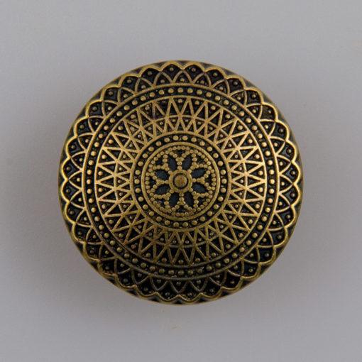 Guzik ozdobny antyczny ze wzorem koronkowym (mandala, fraktal), kolor stara miedź, śr. 25 mm