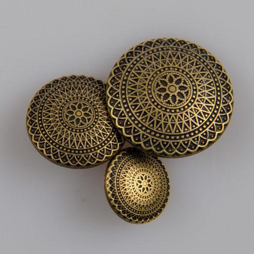 Guzik ozdobny antyczny ze wzorem koronkowym (mandala, fraktal), kolor stara miedź, śr. 15, 20, 25 mm