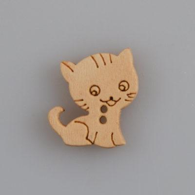 Guzik drewniany Mały Kotek, 2 dziurki, naturalne drewno, DYI