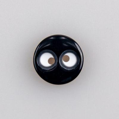 Guzik z oczami, śr. 13 mm, 2 dziurki do przyszycia, uniwersalny, kolor czarno-biały
