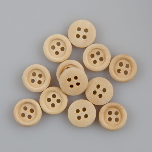 Guzik drewniany z obrzeżem 2 mm, 4 dziurki, śr. 13 mm DIY