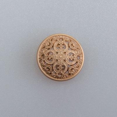 Guzik ażurowy ozdobny kolor antyczne złoto śr. 15 mm