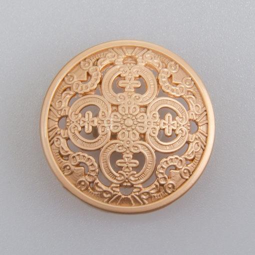 Guzik ażurowy ozdobny kolor antyczne złoto śr. 25 mm