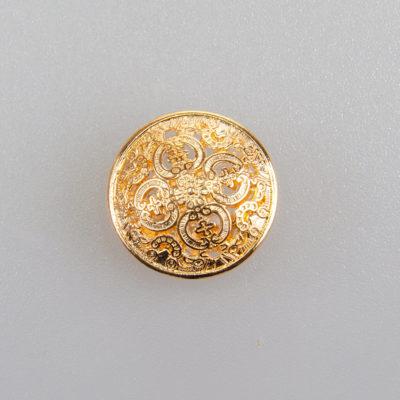 Guzik ażurowy ozdobny kolor złoty śr. 15 mm