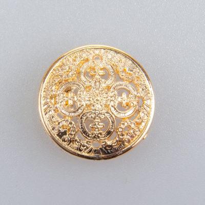 Guzik ażurowy ozdobny kolor złoty śr. 20 mm