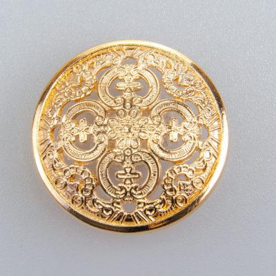 Guzik ażurowy ozdobny kolor złoty śr. 25 mm