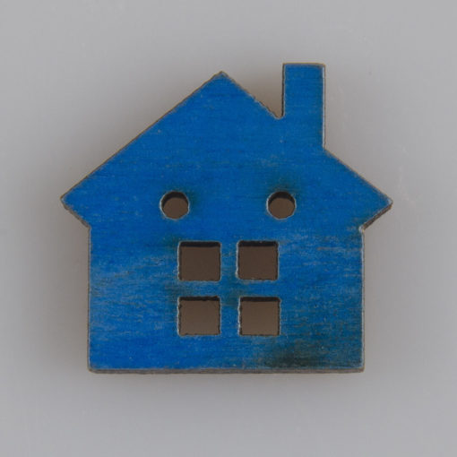 Guzik drewniany Domek; 2 dziurki MIX 7 kolorów
