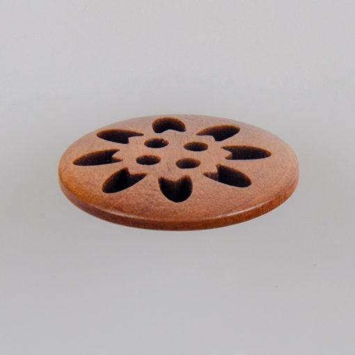 Guzik drewniany okrągły ażurowy, 4 dziurki, śr. 25 mm, kolor jasny brąz