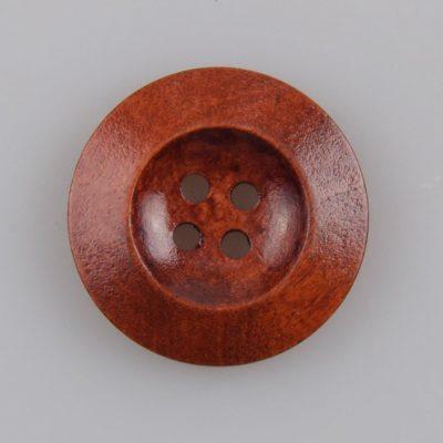 Guzik drewniany z płaskim rantem 5.8 mm, 4 dziurki, śr. 25 mm, kolor kawa