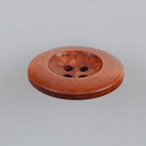 Guzik drewniany z półokrągłym obrzeżem 5.7 mm, 4 dziurki, śr. 25 mm, kolor jasna kawa