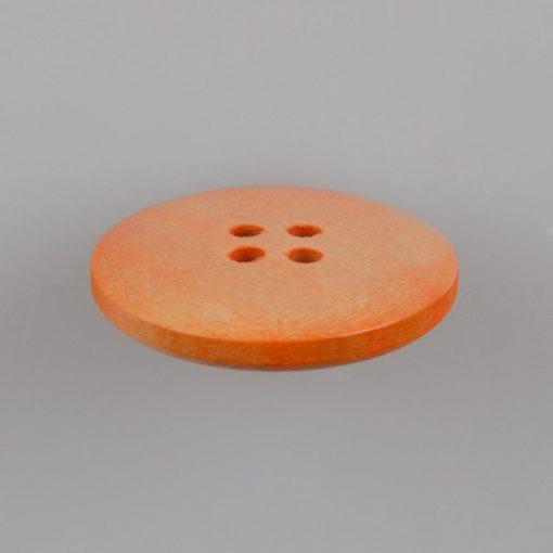 Guzik drewniany z obrzeżem 4 mm, 4 dziurki, śr. 25 mm, kolor pinia