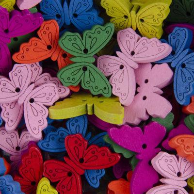 Guzik drewniany Motyl 2 dziurki MIX 7 kolorów