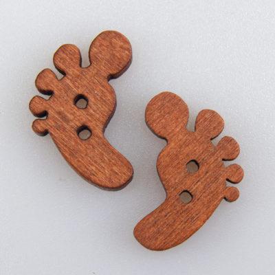 Guzik drewniany Stopa 2 dziurki DYI