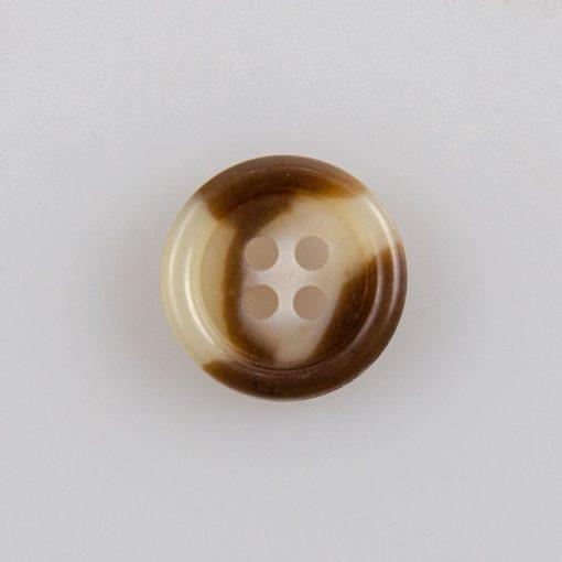 Guzik żywiczny klasyczny, śr. 15 mm, kolor brązowo-biały