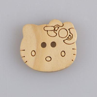 Guzik drewniany Hello Kitty dziurki DYI