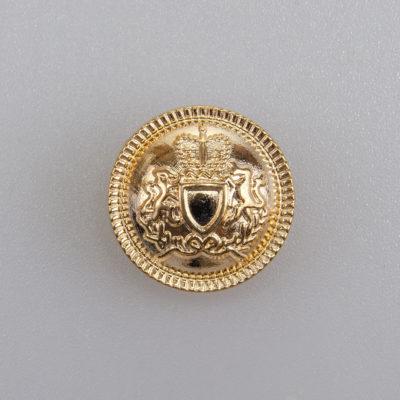 Guzik z herbem i ozdobnym rantem kolor złoty śr. 18 mm