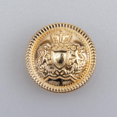 Guzik z herbem i ozdobnym rantem kolor złoty śr. 22 mm