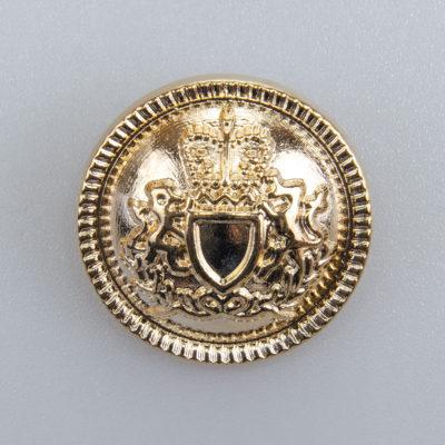 Guzik z herbem i ozdobnym rantem kolor złoty śr. 25 mm