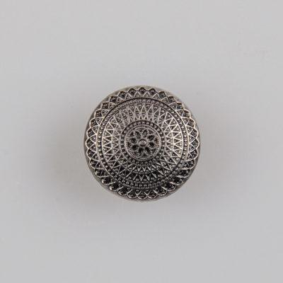Guzik ozdobny antyczny ze wzorem koronkowym (mandala, fraktal), kolor stare srebro, śr. 15 mm