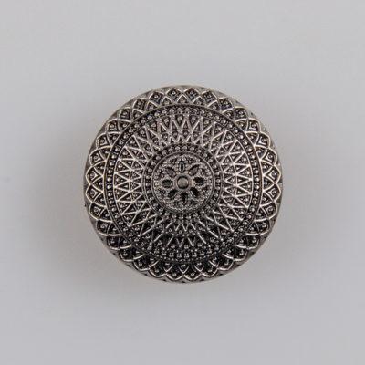 Guzik ozdobny antyczny ze wzorem koronkowym (mandala, fraktal), kolor stare srebro, śr. 20 mm