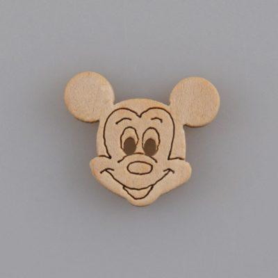 Guzik drewniany Mickey Mouse, 2 dziurki, naturalne drewno, DYI