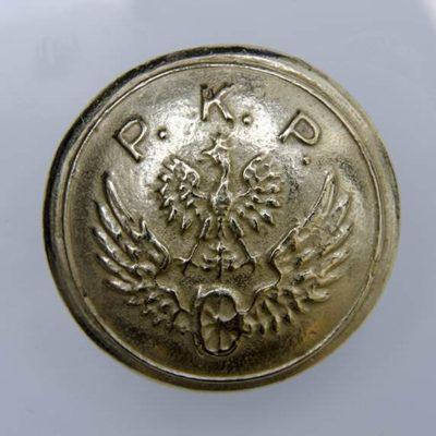 Polski przedwojenny guzik P.K.P. jasno złoty 21 mm