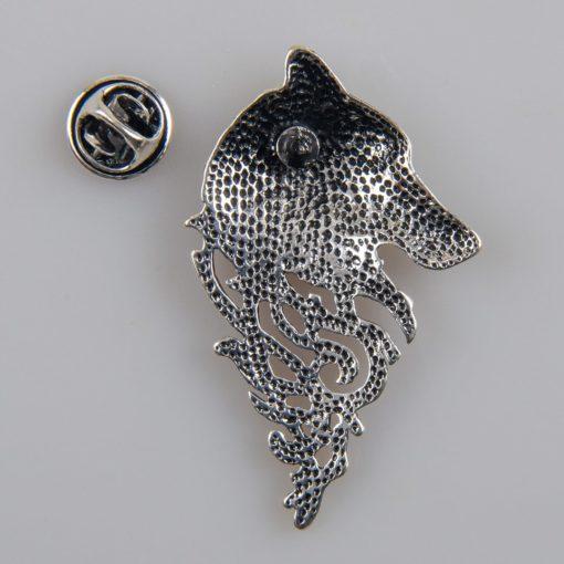 Wilk znaczek na pin/ szpilkę kolor srebro