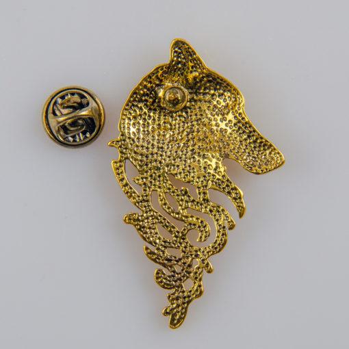 Wilk znaczek na pin/ szpilkę kolor złoty