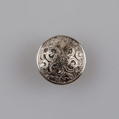 Guzik ażurowy ozdobny kolor srebrny śr. 15 mm