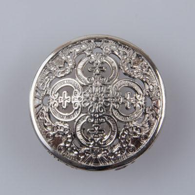 Guzik ażurowy ozdobny kolor srebrny śr. 25 mm