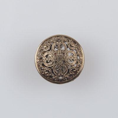 Guzik ażurowy ozdobny kolor stare złoto śr. 15 mm