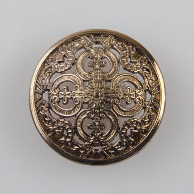 Guzik ażurowy ozdobny kolor stare złoto śr. 25 mm