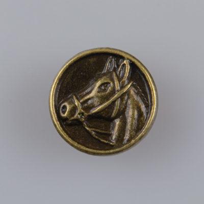 Guzik z głową konia, kolor brąz śr. 15 mm
