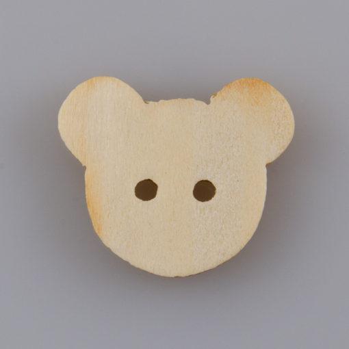 Guzik drewniany Miś 2 dziurki (17.7x15mm)