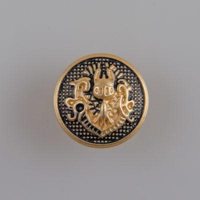 Guzik w stylu angielskim kolor złoto-czarny śr. 15 mm