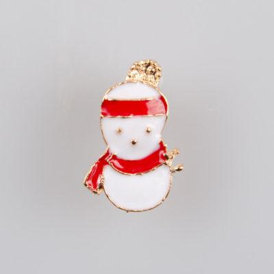 Bałwan znaczek na pin/ szpilkę, metal kolor złoty, biało-czerwona emalia