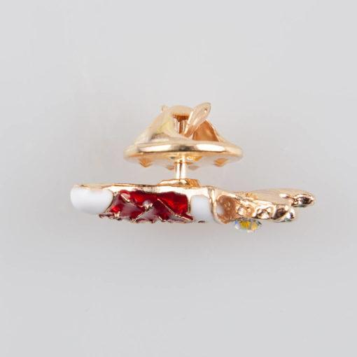 Bucik Świąteczny znaczek na pin/ szpilkę, metal kolor złoty, biało-czerwona emalia