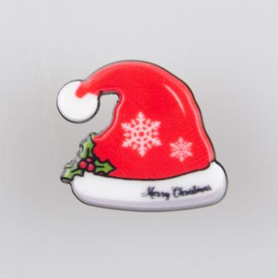 Czapka Mikołaja, znaczek na pin/ szpilkę, akryl, kolorowy nadruk