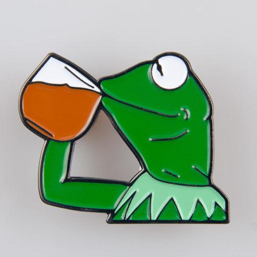 Kermit Żaba (Muppet Show) znaczek na pin/ szpilkę kolor zielono/ biały