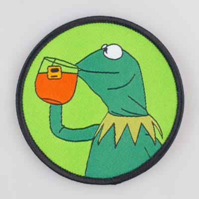 Kermit Żaba (Muppet Show) przyszywka materiałowa/ haft kolor zielony śr. 70 mm