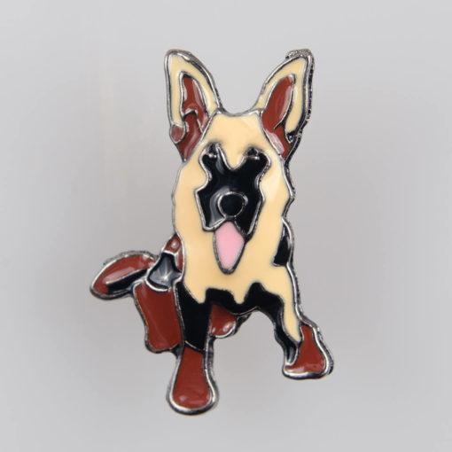Owczarek Niemiecki pies, znaczek na pin/ szpilkę, kolorowa emalia